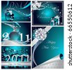 Merry Christmas and Happy New Year collection - stock vector