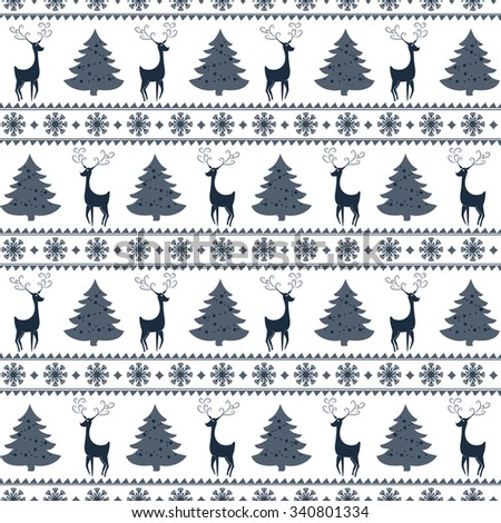 Merry Christmas and Happy New Year! Colorful vector seamless pattern with deer, pine trees and snowflakes for winter holidays design. - stock vector