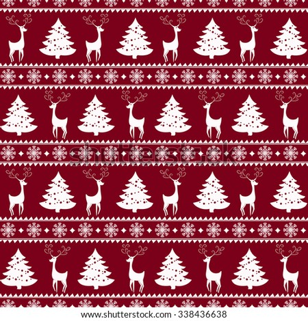 Merry Christmas and Happy New Year! Colorful vector seamless pattern with deers, pine trees and snowflakes for winter holidays design. - stock vector