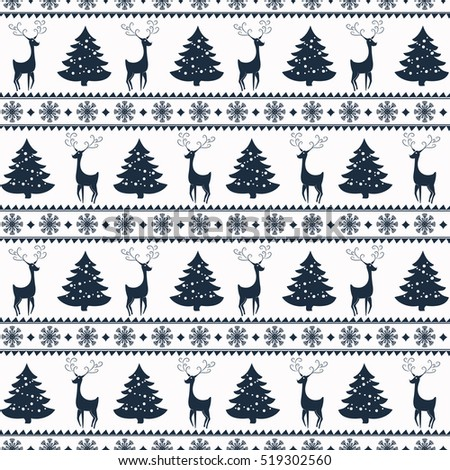 Merry Christmas and Happy New Year! Colorful vector seamless pattern with deers, pine trees and snowflakes for winter holidays design.