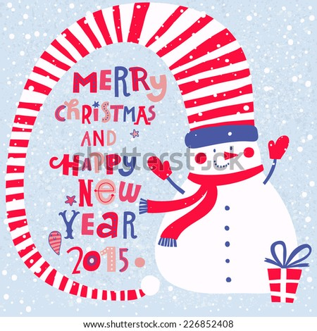 Merry Christmas and Happy New 2015 Year concept card. Funny snowman with gifts in bright colors in vector - stock vector