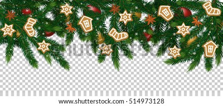 Merry Christmas and Happy New Year concept. Christmas decoration with Xmas tree branches, ball toys, stars, gingerbread cookies vector illustration. Christmas tree branch on transparent background