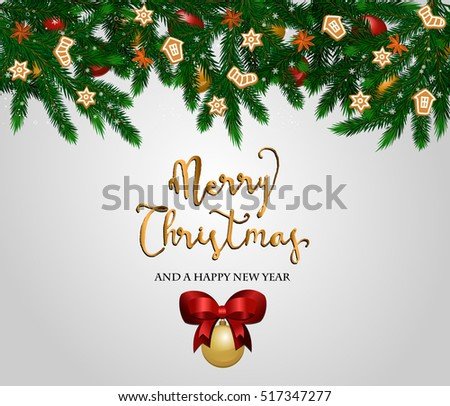 Merry Christmas and Happy New Year concept. Christmas decoration with Xmas tree branches, ball toys, anise stars, gingerbread cookies vector illustration. For greeting, invitation card