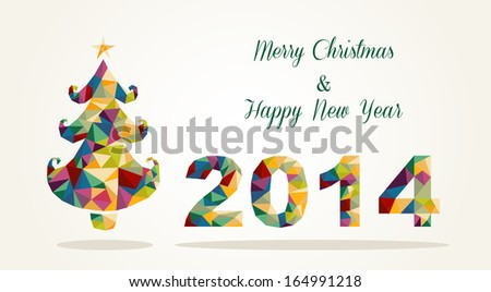 Merry Christmas and Happy New Year 2014 contemporary colorful triangle postcard. EPS10 vector file organized in layers for easy editing.