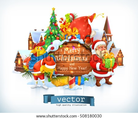 Merry Christmas and Happy New Year. Santa Claus, christmas tree, wooden sign, rooster. 3d vector