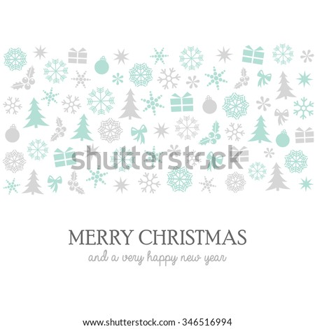 Merry Christmas and Happy New Year design in grey and mint green. Festive pattern composed of Christmas inspired shapes and silhouettes. - stock vector