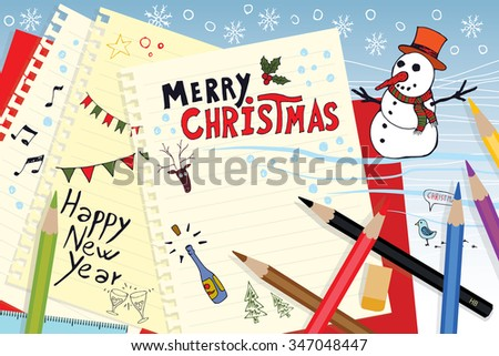 Merry Christmas and Happy New Year doodle card. Isolated hand drawn vector illustration on note papers in flat design style