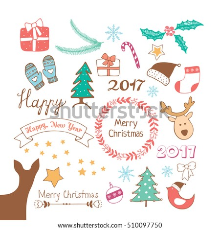 Merry Christmas and Happy New Year doodles set. Vector illustration