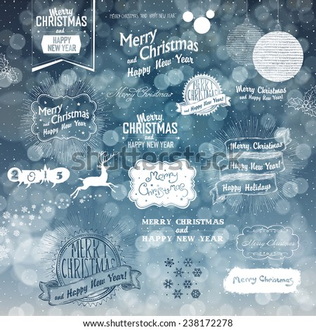 Merry Christmas And Happy New Year Elements on Blue Defocused Background. Typographic, Hand-Drawn and Textures Collection - stock vector