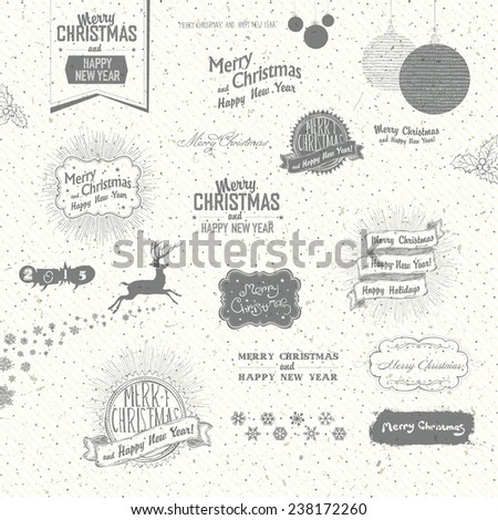 Merry Christmas And Happy New Year Elements. Typographic, Hand-Drawn and Textures Collection - stock vector