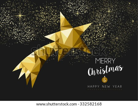 Merry christmas and happy new year fancy gold shooting star in hipster low poly triangle style. Ideal for xmas greeting card or elegant holiday party invitation. EPS10 vector. - stock vector
