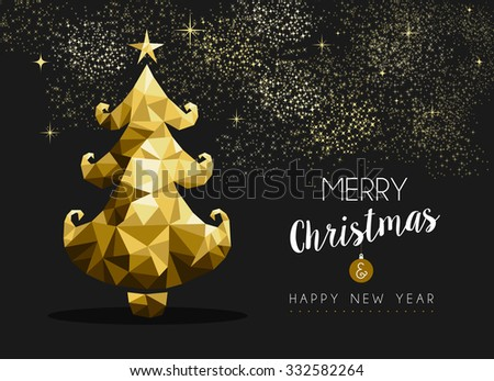 Merry christmas and happy new year fancy golden pine tree in hipster triangle style. Ideal for xmas greeting card or elegant holiday party invitation. EPS10 vector.    - stock vector