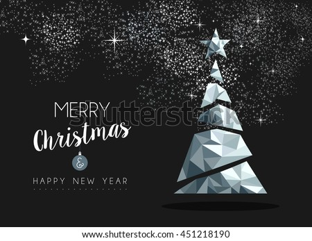 Merry christmas and happy new year fancy silver xmas tree in hipster low poly triangle style. Ideal for greeting card or elegant holiday party invitation. EPS10 vector.    - stock vector