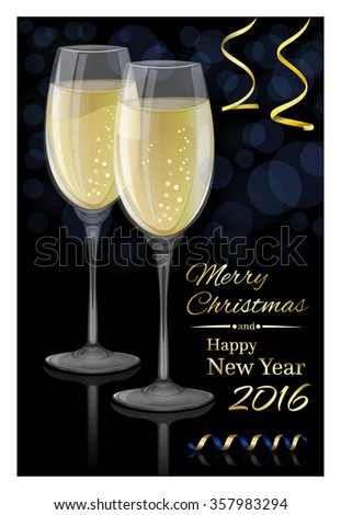 Merry Christmas and Happy New Year 2016. Glasses of champagne on a black background. Vector Christmas card.