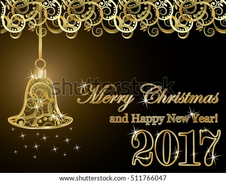 Merry Christmas and happy new year 2017 golden card, vector illustration