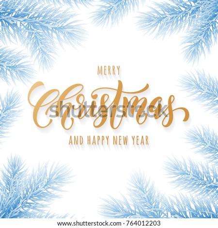 Merry Christmas Happy New Year Golden Stock Vector 764012203 ...