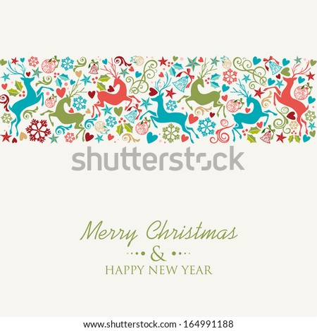Merry Christmas and Happy New Year greeting card background. EPS10 vector file organized in layers for easy editing. - stock vector