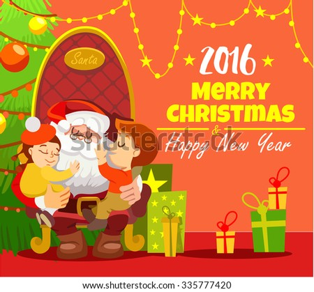 Merry christmas and happy new year greeting card design with santa sitting in armchair with little boy and girl in front of christmas tree decoration. Vector illustration - stock vector