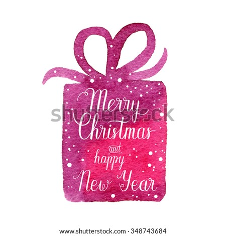 Merry Christmas and Happy New Year greeting card, poster. Vector winter holidays backgrounds with hand lettering calligraphic, gift, falling snow. - stock vector