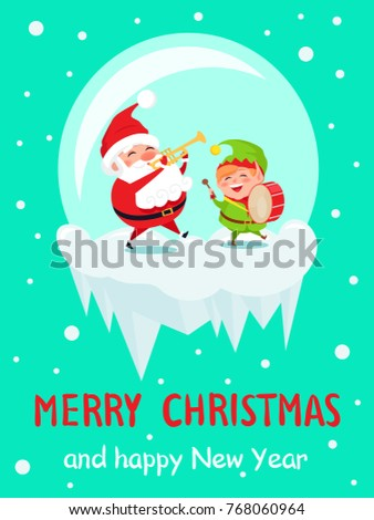Cute angel merry christmas greeting vector stock vector 755973910 merry christmas and happy new year greeting card santa and elf dancing at music playing on m4hsunfo