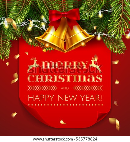 Merry Christmas and Happy New Year, greeting card template. Red, curved, paper banner isolated on red decoration holidays background with christmas tree, light garland, gold jingle bells. Vector