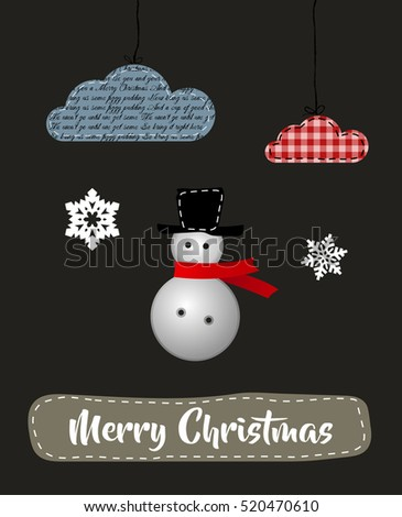 Merry Christmas and Happy New Year Greeting Card Vector Application Holiday Postcard with Snowman Snowflakes Clouds Textile