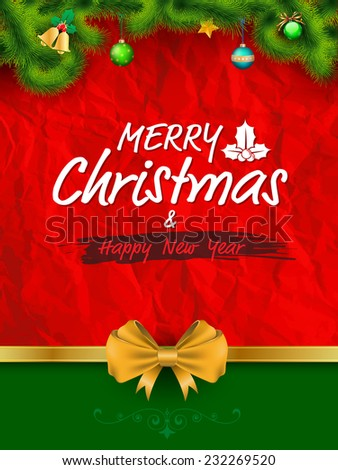 Merry Christmas and happy new year greeting card. Vector illustration. - stock vector