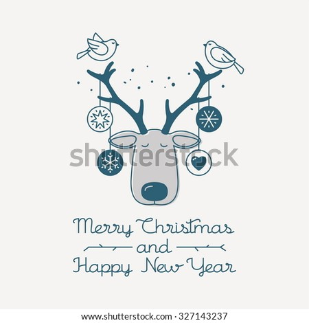 Merry Christmas and  Happy New Year greeting card. Vector illustration.
