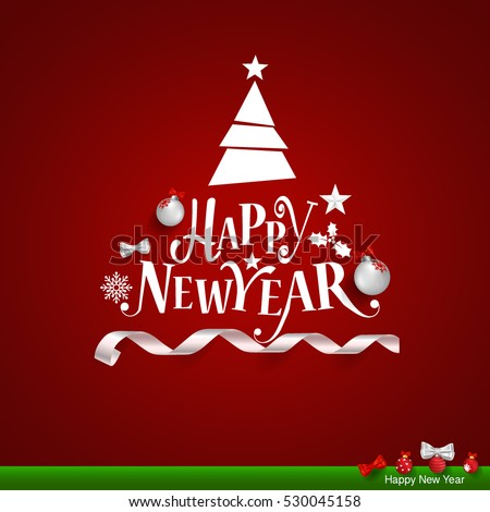 Merry Christmas and Happy new year Greeting Card, vector illustration