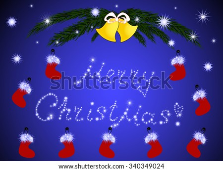 Merry Christmas and Happy New Year greeting card with fir branches, golden bells and gift socks  - stock vector