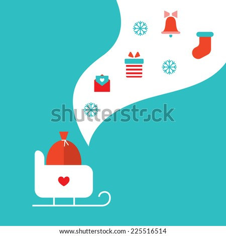 Merry Christmas and Happy New Year greeting card with sleigh, presents and gift boxes. Vector illustration - stock vector