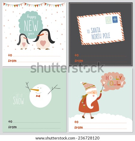 Merry Christmas And Happy New Year greeting cards with calligraphic and typographic wishes and winter elements. Illustration with santa claus, letter, happy penguins and cute and smiling snowman - stock vector