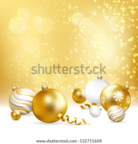 Merry Christmas and Happy New Year greeting illustration with  balls and snow. Vector illustration.