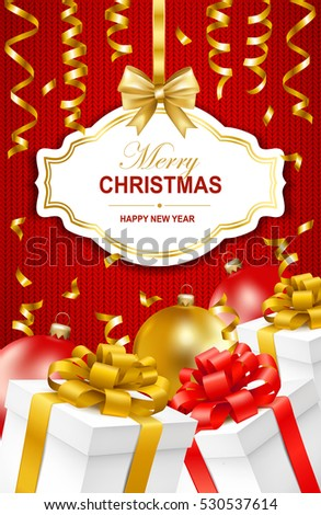 Merry Christmas and Happy New Year greeting illustration with christmas balls, gift boxes and serpentine. Vector illustration.