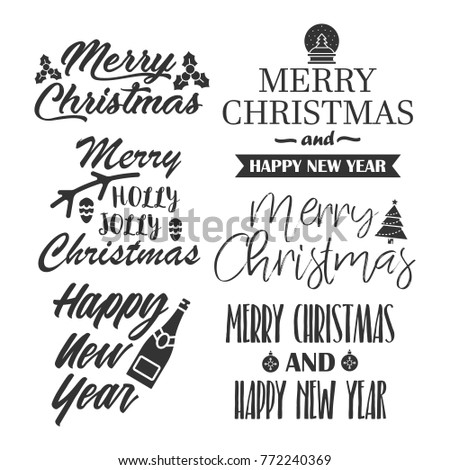 Merry christmas happy new year greeting stock vector 772240369 merry christmas and happy new year greeting quotes lettering typography m4hsunfo