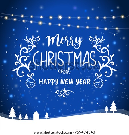 Merry christmas happy new year greetings stock vector 2018 merry christmas and happy new year greetings card template vector illustration with hanging lights and m4hsunfo Gallery