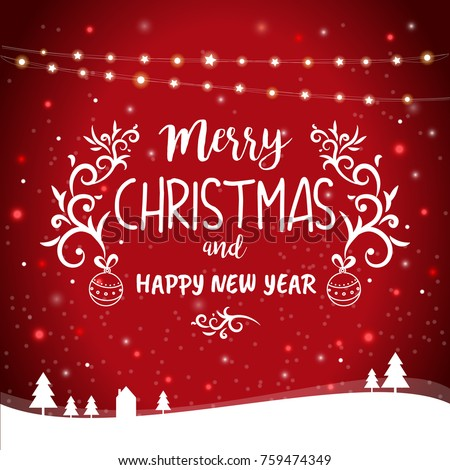 Merry Christmas Happy New Year Greetings Stock Vector