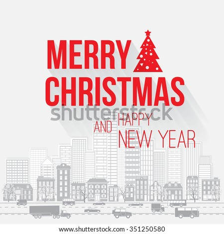 Merry christmas happy new year greetings stock vector 351250580 merry christmas and happy new year greetings card with red letters on light gray background with m4hsunfo