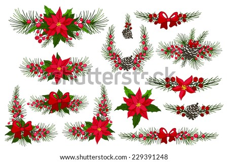 Merry Christmas and Happy New Year group,border.Modern flat decor elements for invitations,print,feb,card,banner. Christmas festive vector - stock vector
