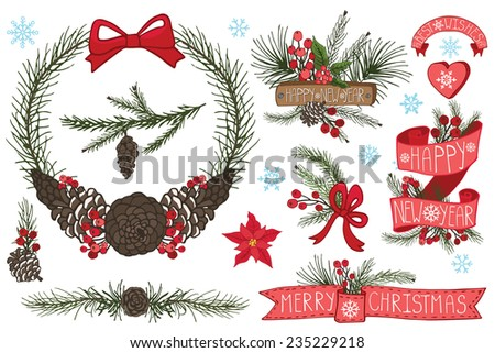 Merry Christmas and Happy New Year group,horns,border,flowers,cone,spruce,ribbons.Flat decor elements for invitations,print,feb,card,banner.Festive vector - stock vector
