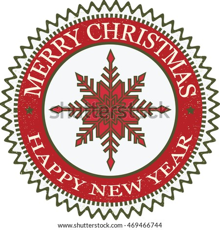 Merry Christmas and Happy New Year Grunge Rubber Stamp.Background with Snowflakes Red and Green.Vector illustration