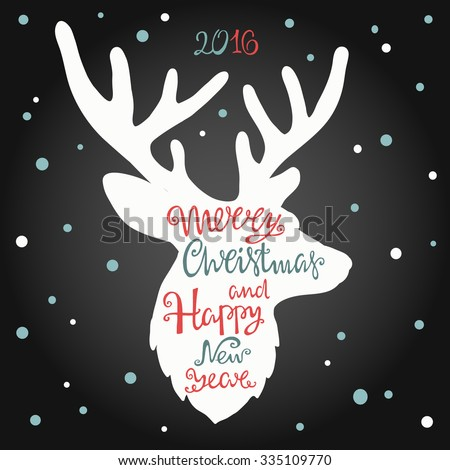 Merry Christmas and happy new year, hand drawn  lettering in the shape of deer. - stock vector