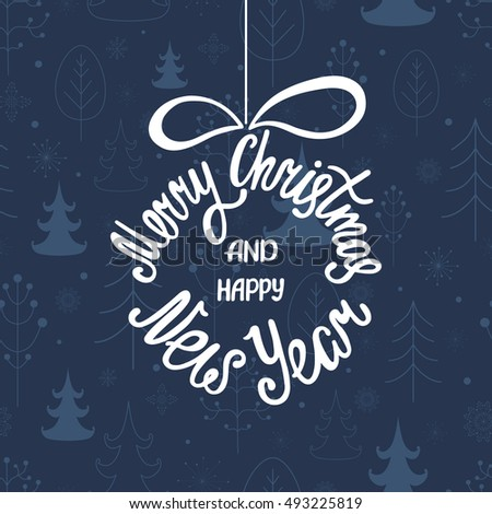 Merry christmas happy new year handdrawn stock vector 493225819 handdrawn inscription for greeting card or invitation round stopboris Images