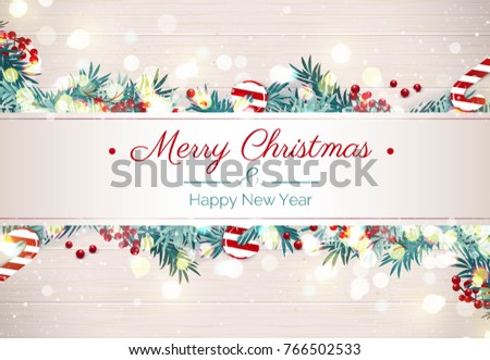 Merry Christmas Happy New Year Holiday Stock Vector (Royalty Free ...
