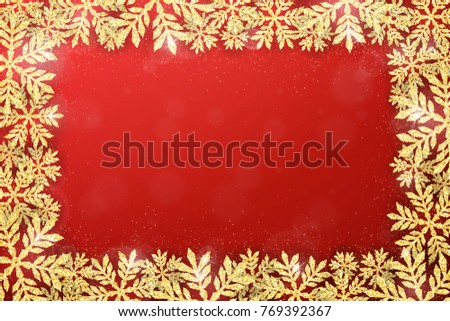 Merry Christmas and Happy New Year holiday background with gold glittering snowflakes frame. Stylish Christmas background. Winter seasonal luxury greeting card