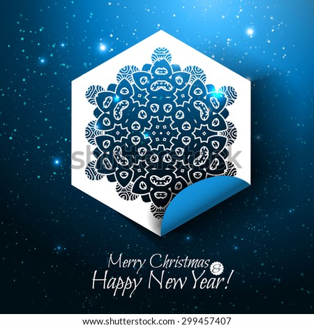 Merry Christmas and Happy New Year holiday card. Snowflake paper design. Vector illustration