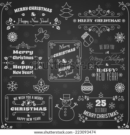 Merry christmas and happy new year holiday decoration chalkboard labels set vector illustration - stock vector
