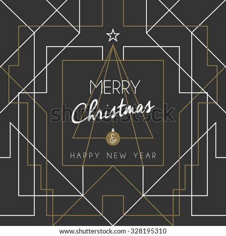 Merry christmas and happy new year holiday greeting card. Geometry lines, art deco style with vintage xmas pine tree. EPS10 vector. - stock vector