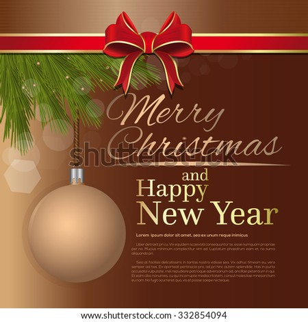 Merry Christmas and Happy New Year. Holiday greeting card template. - stock vector