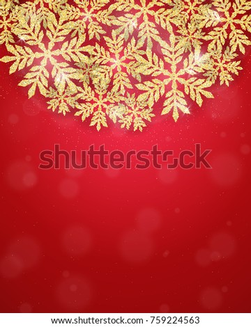 Merry Christmas and Happy New Year holiday greeting card with gold glittering snowflakes frame. Winter glow seasonal snowing red background